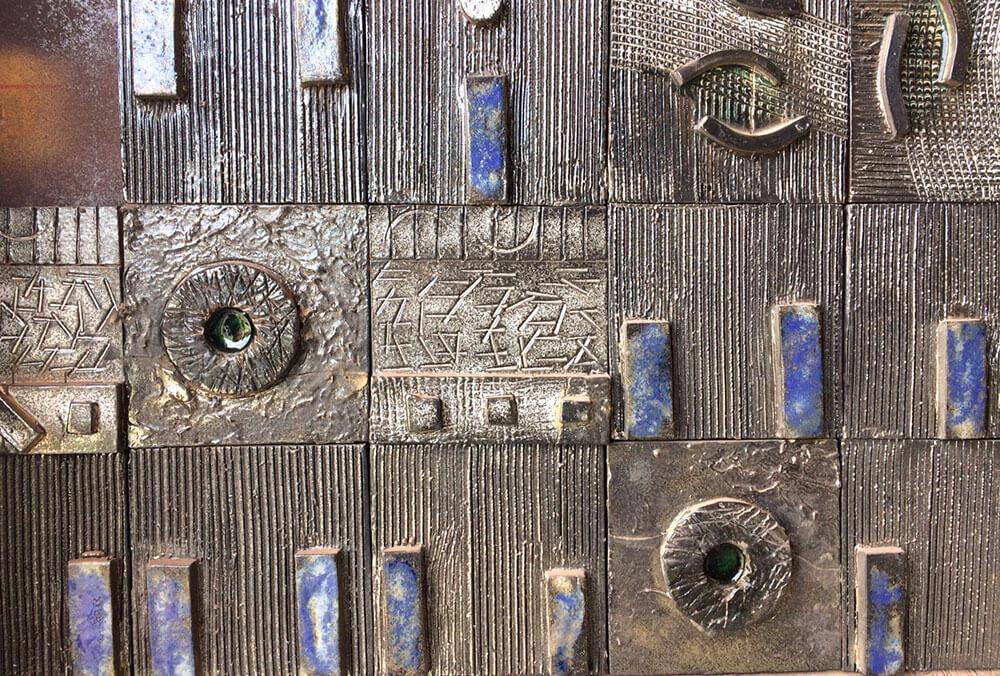azulejos relieve pieza volumen acabado metalizado - Azulejos Con Relieve